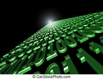 binario, flusso, dati, comunicazione
