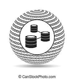 binario, globo, concepto, datos, red