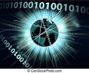 binario, globo, datos, información