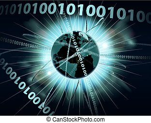 binario, información, datos, globo
