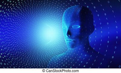 binario, testa, concetto, intelligenza, wireframe, illustrazione, cervello, code., artificiale, umano, nero, modello, tecnologia, futuristico, 3d