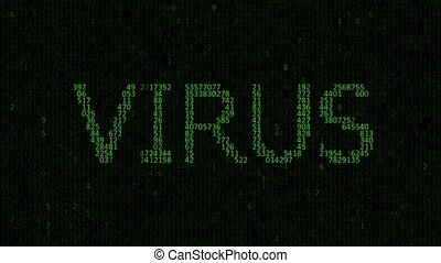 infection by computer virus - Binary and hexadecimal code. ...