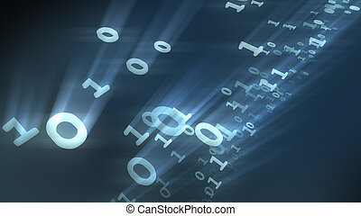 Binary bits and bytes computer numbers particles. 3D rendering