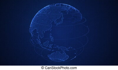 Binary blue 3D planet Earth constructed with numbers rotation. Spinning globe, shining binary continents. HUD planet. Abstract cyber animation with depth of field and glow. 4K, loop, UHD Pro Res.