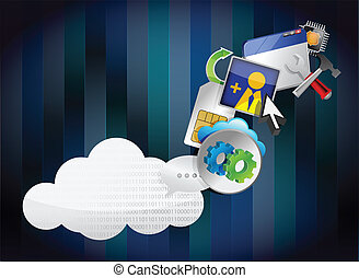 binary cloud of colorful application icons