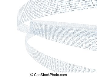 binary code - 3d rendered illustration of a digital...