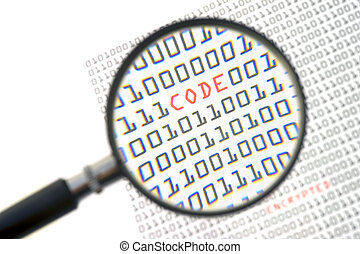 A magnifying glass, zooming in on the word code in red, surrounded by zeros and ones of the binary page text