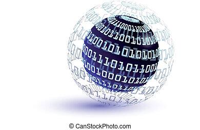 Binary code abstract globe