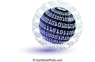 Binary code abstract globe - Binary code globe - internet...
