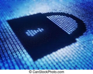 Binary code and lock shape on pixellated screen - Binary...