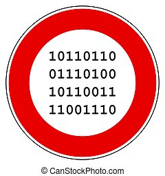 Binary code and prohibition sign