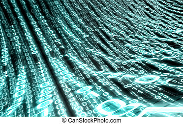 binary code background on digital screen 3d render.Internet...
