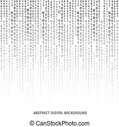 Binary code black and white background with digits on screen...
