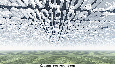 Binary code clouds