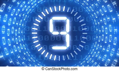 Animation of countdown from 10 to 0, with binary code numbers around.