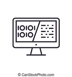 binary code, data encryption linear icon, sign, symbol, vector on isolated background