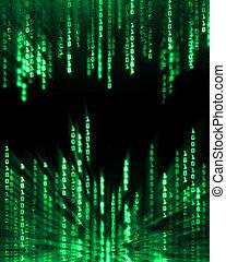 Binary code data flowing on display - Glowing binary code...
