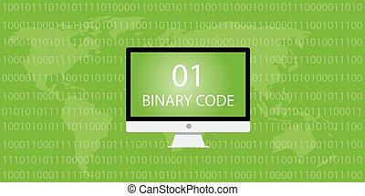 binary code computer desktop and 01 10 number