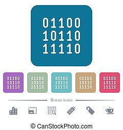Binary code flat icons on color rounded square backgrounds