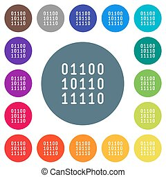 Binary code flat white icons on round color backgrounds