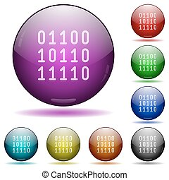 Binary code glass sphere buttons