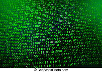 Binary code green blue digital color on black background with zoom effect for graphic design