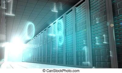 Binary code in server room - Digital animation of Binary...
