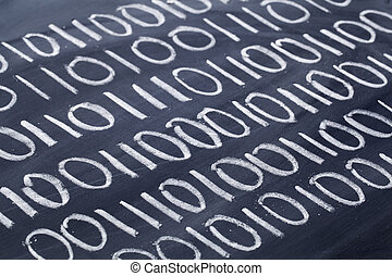 binary code on blackboard
