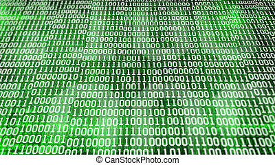 binary code screen listing table on green background