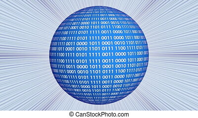 Binary code sphere rotating over light rays background