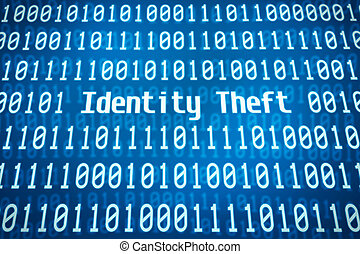 Binary code with the word Identity Theft in the center
