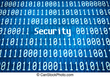 Binary code with the word Security in the center