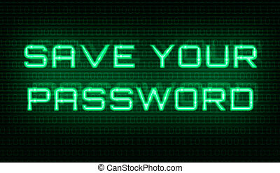 Binary code with the words Save your password in the center
