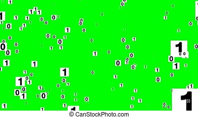 Binary code with zero and one numbers on white cards flying backwards . Sci-fi fantasy background, animation on green mat.