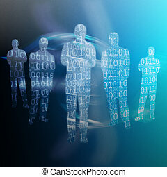 Binary code written on shapes of human body against a...