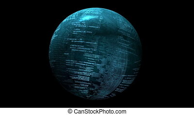 Binary data on spinning sphere