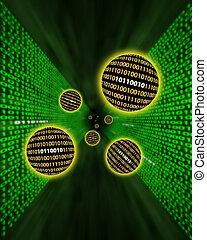 Binary data orbs or packets flying through a digital vortex