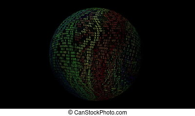 Binary data spinning sphere over black