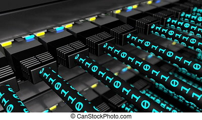Binary data transferring on UTP cables loop - 3D animation...