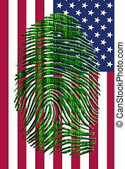 Binary finger print over US Flag