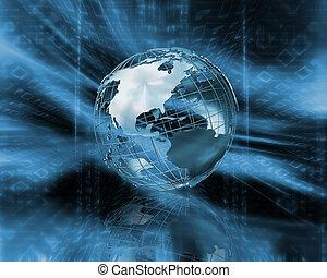 Binary globe - 3D wireframe globe on binary code background