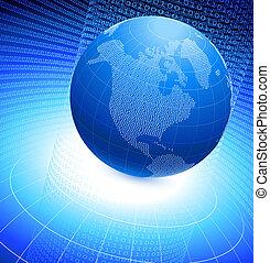 Binary globe on blue background