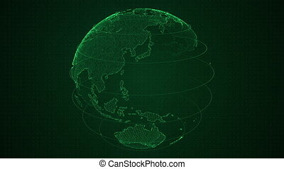 Binary green 3D planet Earth constructed with numbers rotation. Spinning globe, shining binary continents. HUD planet. Abstract cyber animation with depth of field and glow. 4K, loop, UHD ProRes.