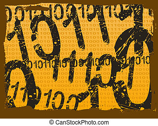 Binary Grunge Background - Orange