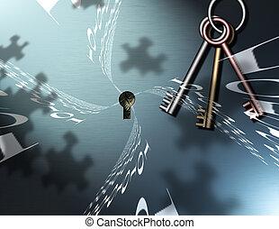 Binary Key - Binary Code, Keys and Puzzle Piece shadows...