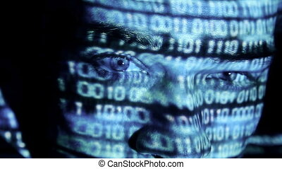 ID theft looking at the camera with binary codes reflections