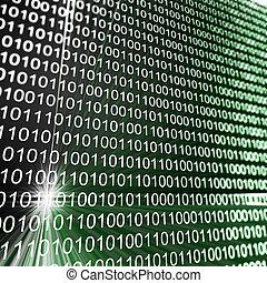 Binary matrix array. High resolution 3d render