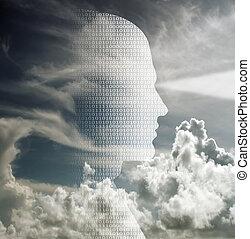 Binary Mind - Human head of binary code