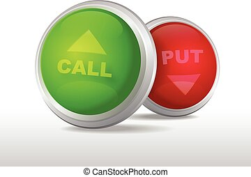 Binary options buttons with call and put words vector illustration