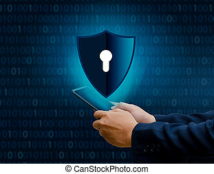 Binary shield Internet phone Smartphone is protected from hacker attacks, Firewall Business People press the protected phone on the internet.phone Shield Businessman Binary